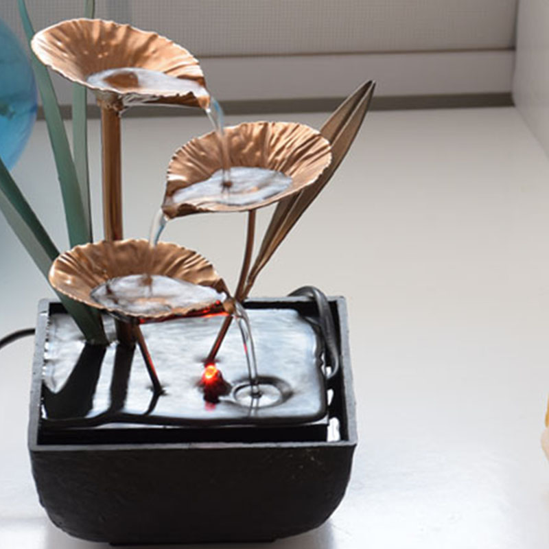 Decorative Indoor Water Fountains Lotus Fountain Resin Crafts Gifts Feng Shui Wheel Desktop Water Fountain for Home Office