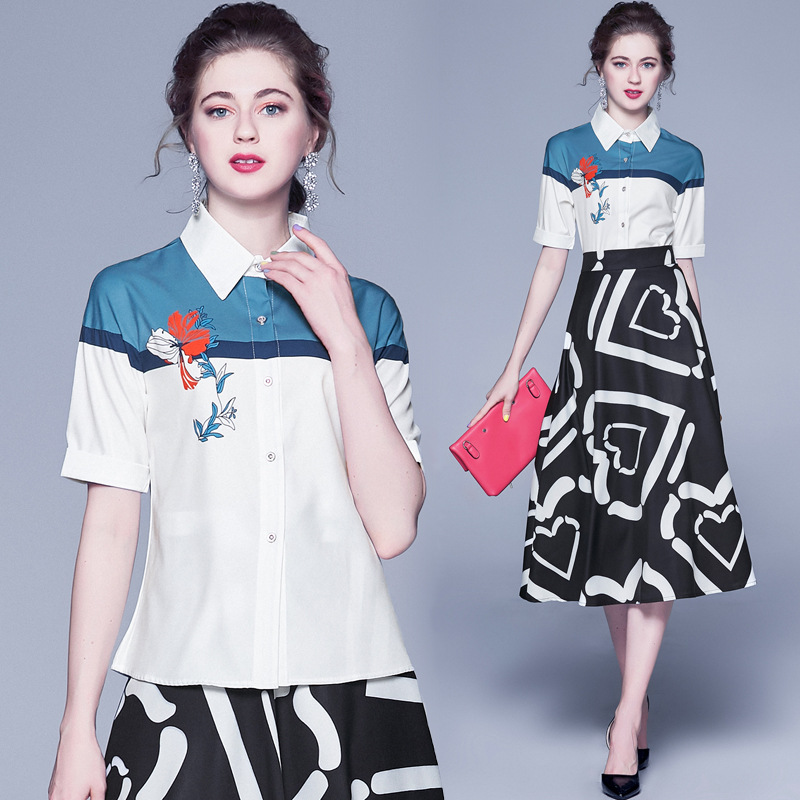 Photo Shoot Fashionable Mixed Colors Half-sleeve Shirt Shirt Joint High-waisted Printed Dress Two-Piece Set Western Style Set