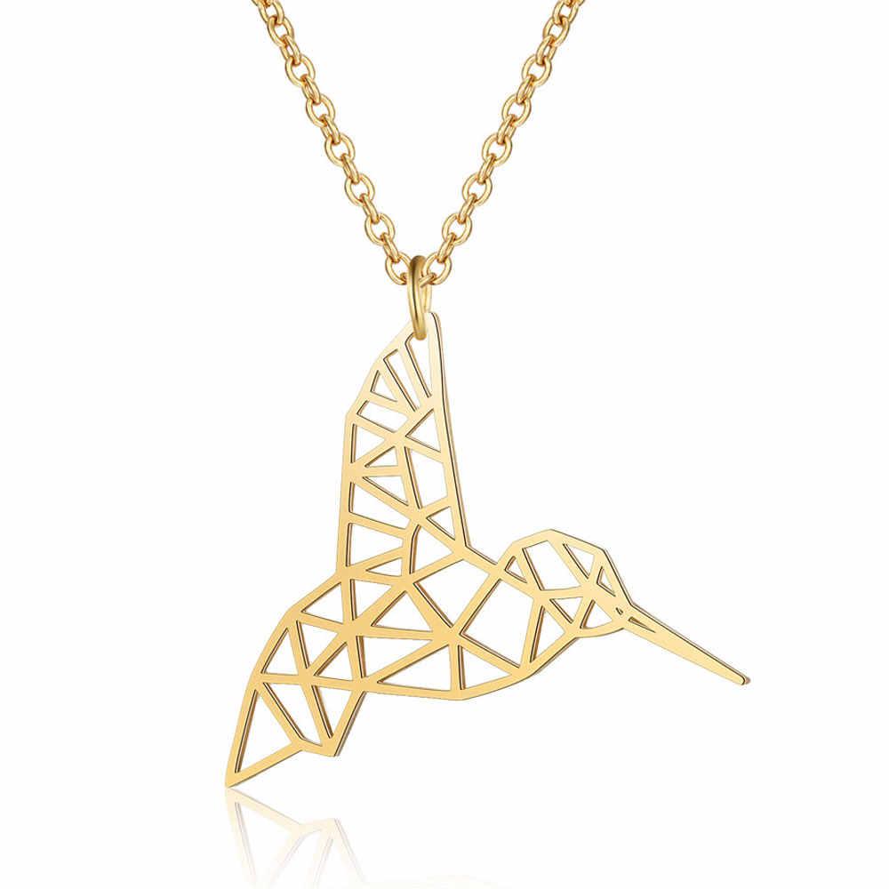 100% prawdziwe ze stali nierdzewnej pusta Hummingbird naszyjnik moda zwierząt wisiorek naszyjniki włochy projekt niesamowity Design
