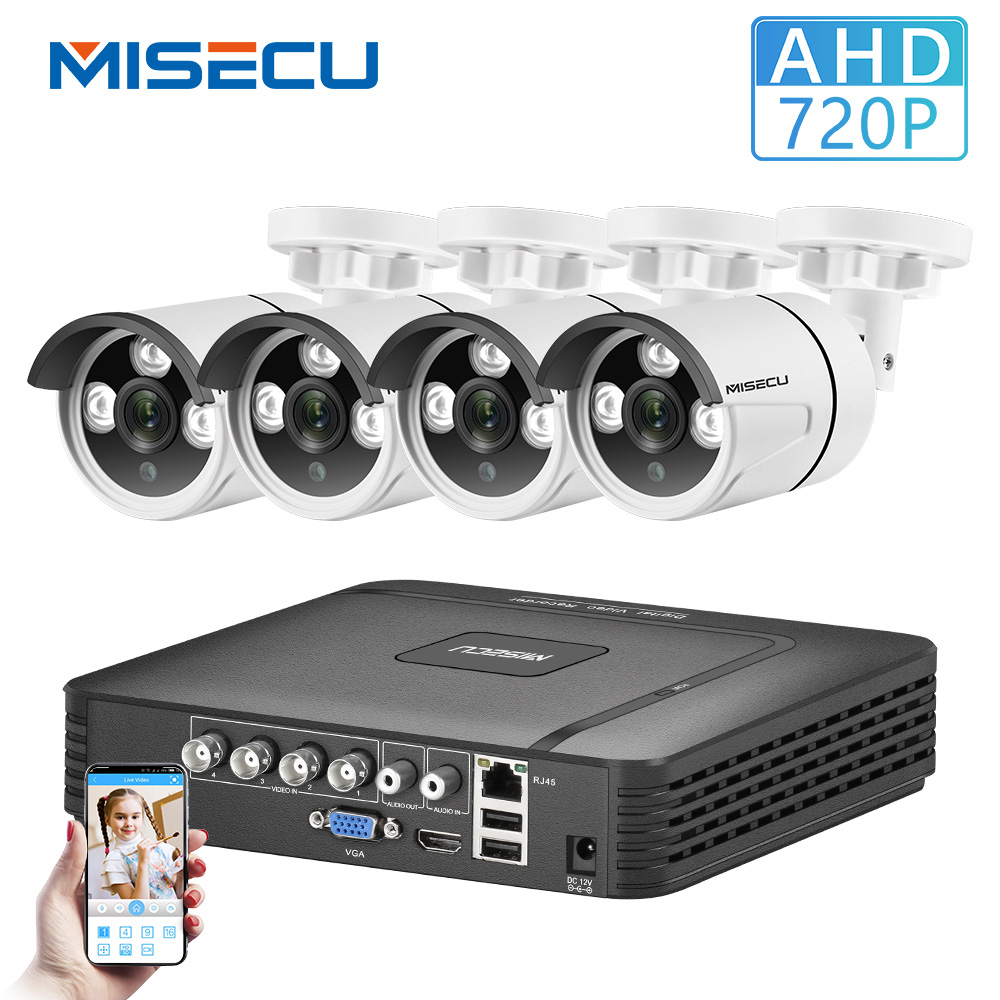 MISECU Home Security Cameras System 4CH 5 In 1 DVR CCTV 720P 2/4PCS Outdoor AHD Camera E-mail Alert XMeye Video Surveillance Kit