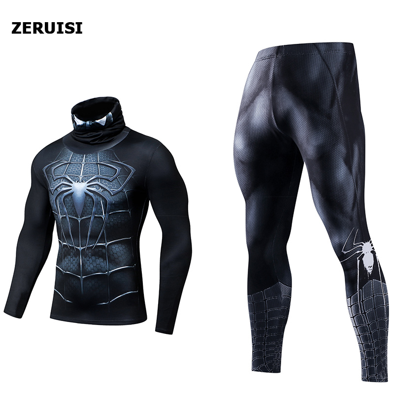 Compression Set 3D Printed Men's Tracksuits Fitness Clothes Thermal Rashgard Superhero Spiderman High Collar Lapel Sports Suit
