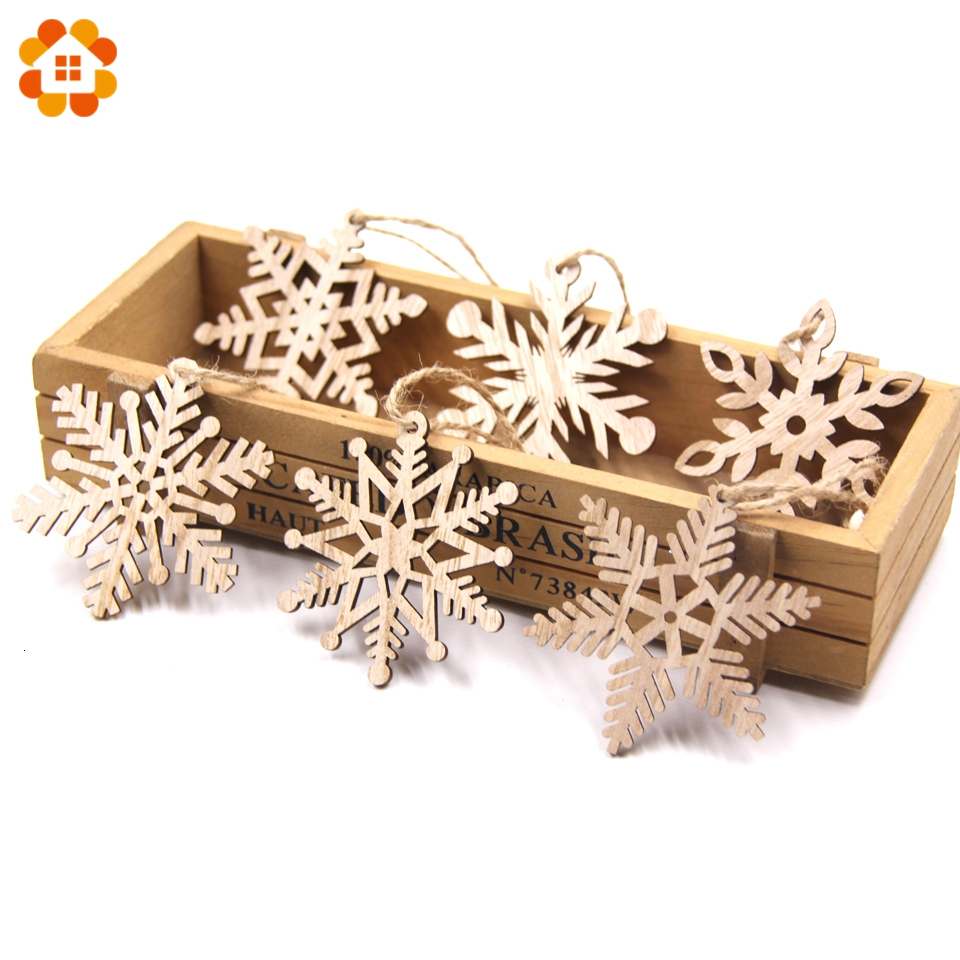 6PCS/Lot Vintage Christmas Snowflakes Wooden Pendants Ornaments Wood Craft  Kids Toys Christmas Decorations Tree Ornaments Gifts