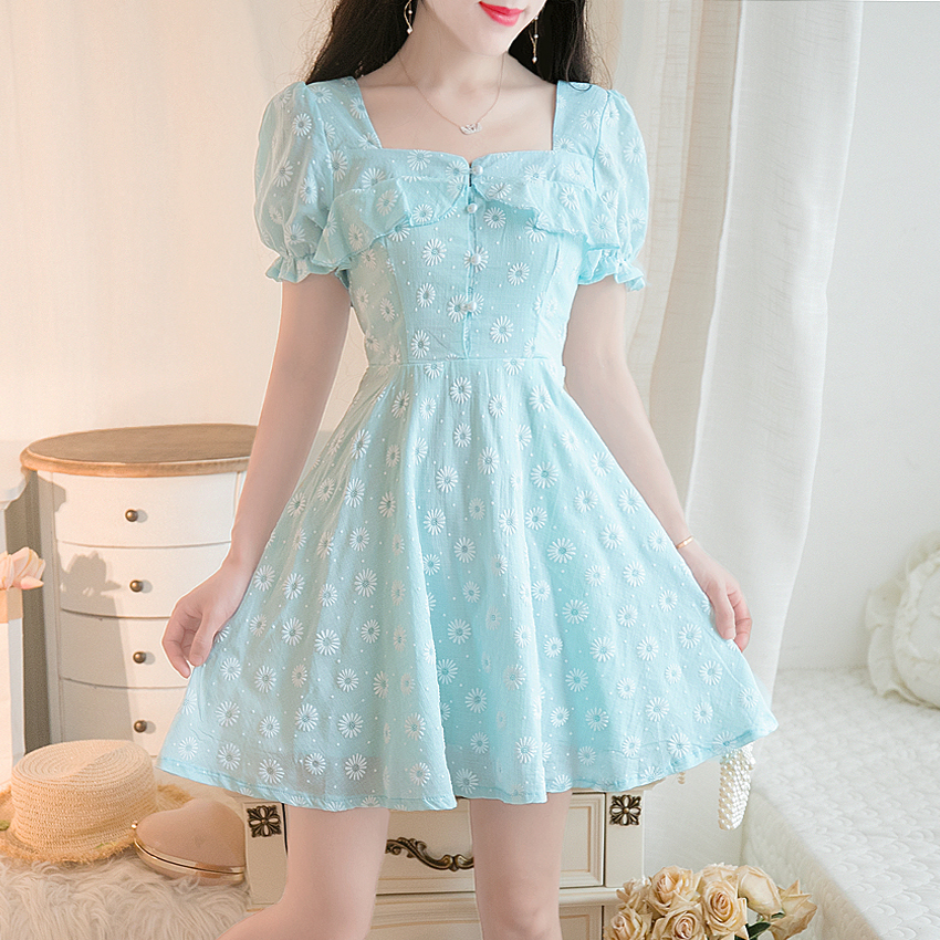 Korean Style Cute White Lace Mini Dress Summer Japanese Beach Boho Kawaii Aline Dress Lantern Sleeves Sweet Dress