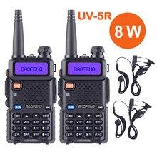 2 pces baofeng uv 5r ture 8 w alto poderoso walkie talkie 8 watts rádio em dois sentidos portátil presunto cb 10km de longa distância pofung UV-5R