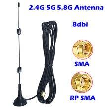 Antena magnética aérea 8dbi, antena wifi 2.4g 5g 5.8g banda dupla omni para ponto de acesso mini pci extensor do roteador do modem do cartão