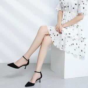 Image 2 - 2020 נעלי אישה צאן קרסול רצועות 6/8cm דק עקבים גבוהים נשים פו זמש כיסוי עקב אלגנטי סקסי נקודת הבוהן סנדלי משאבות חדש