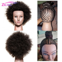 ZILING Traininghead Salon Afro Mannequin Head Human Hair Dummy Doll Hairdressing Training Heads Real Hair Manikin Head Black ziling wig head hairdressing mannequin training head afro mannequin heads for salon hair practice styling african dummy head