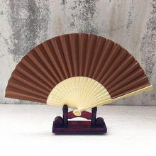 20# Pattern Folding Dance Wedding Party Lace Silk Folding Hand Held Solid Color Fan Chinese Gifts in the Living room Decoration(China)