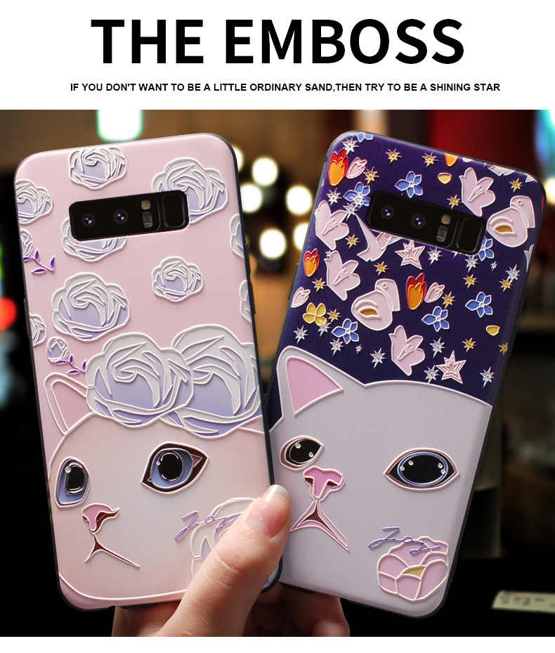 3D Emboss Voor Samsung A50 A70 A40 S10 S9 S8 Plus Case Silicone Cover Tpu Funda Voor Samsung Note 10 pro S7 Rand A5 A7 A9 A8 2018