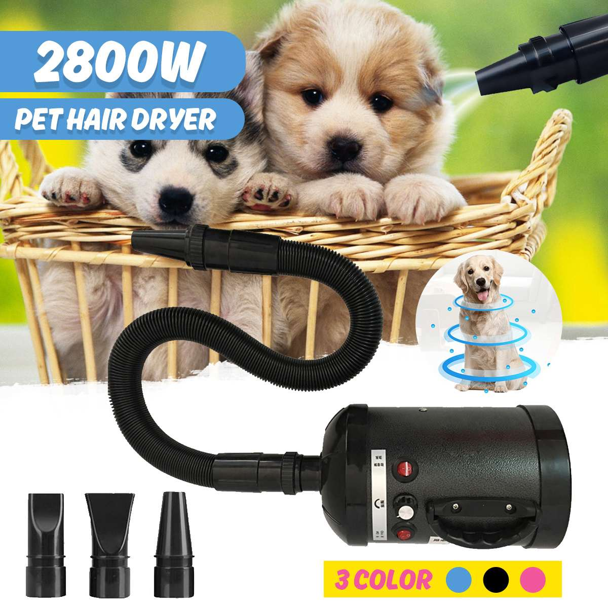 3 Color Eu Plug 2800W font b Pet b font Dryer Blower Adjustable Dog Grooming Dryer