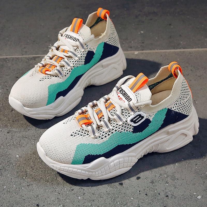 2020 femme semelle épaisse baskets plate-forme Designers couleurs mélangées sport vieux papa chaussures maille chaussures décontractées respirantes Basket femme