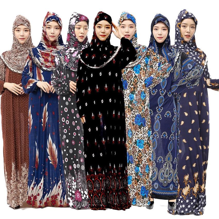 Muslim Full Cover Abaya Dress Islamic Traditional Hiijab+dress Clothing Set Female Thin Middle East Ramadan Prayer Random Color(China)