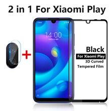 2 で 1 xiaomi mi 再生 5.84 「強化ガラススクリーンプロテクターカメラレンズ xiaomi mi play 保護ガラス