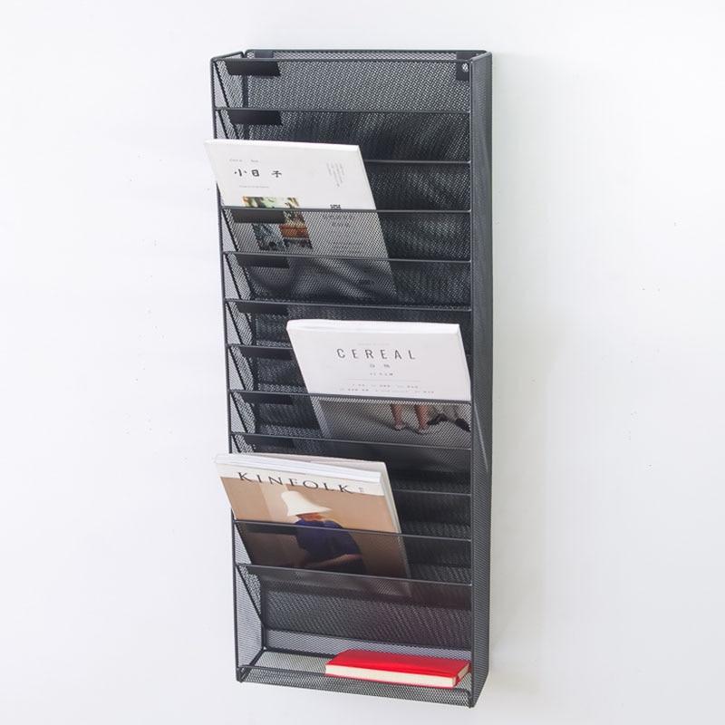 Classification Of Wall Hanging File Rack Newspaper Rack 12 Grid 5 Bar Magazine Bar Iron A4 Display Frame Hanging Wall