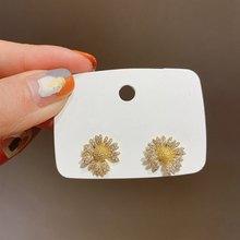 MENGJIQIAO Koreanische Nette Volle Zirkon Blume Stud Ohrringe Für Frauen Mädchen Sommer Mode Micro Pflastern Brincos Schmuck Geschenke