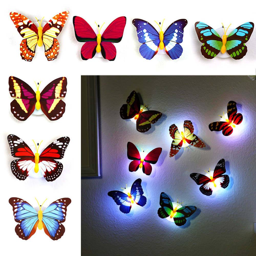 5PCS/PACK Creative Colorful Butterfly LED Night Light Beautiful Home Bedroom Decorative Wall Night Lights Color Random