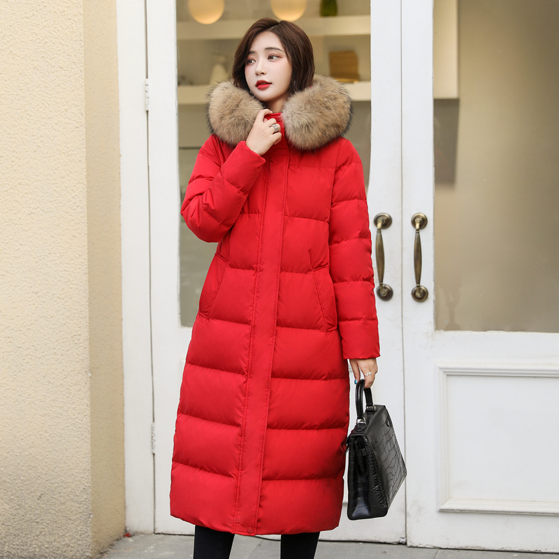 Fashion Women's Down Jacket Women Winter Real Raccoon Fur Hooded Duck Down Coat Female Korean Long Down Parka Hiver 13035