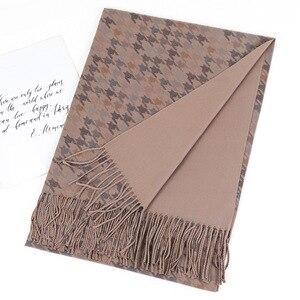 Image 1 - 2020ファッションカシミヤスカーフ女性のためのショール両面ソフトパシュミナヒジャーブ冬暖かいスカーフ毛布赤ラクダグレー