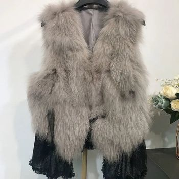 Luxury Genuine High End Fox Fur Thick Warm Natural Real Fox Fur Vest Jacket Coat Winter Waistcoat Gilet Sleeveless For Women image