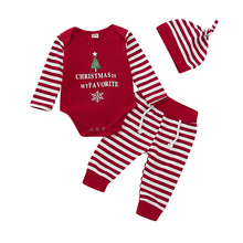 Newborn Infant Baby Boy Girl Clothes Christmas Long Sleeve Romper Striped Pants Hat Xmas Costume Tops