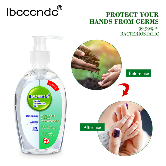 200ml Anti Bacterial Disposable Hand Sanitizer Hand Disinfection Gel Quick-Dry Handgel 75% Ethanol for Kids Adults Home Bathroom 3