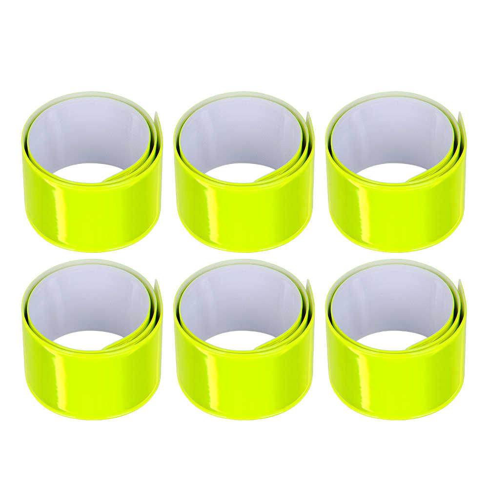 6 Pack Riflettore Snap Bande-30x3 centimetri Fasce di Braccio Ad Alta Visibilità Di Sicurezza Polso Caviglia-Giallo Neon luminoso riflettente Strisce
