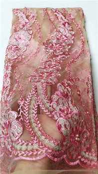Amazing Party Tulle Material Lady's Evening French Net Lace Fabric With Beads QN145(5Yards/Lot)