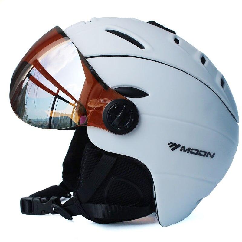 MOON Профессиональный полузакрытый лыжный шлем цельно Формованный спортивный мужской женский Снежный Лыжный Сноуборд шлемы с защитными очк... - 6
