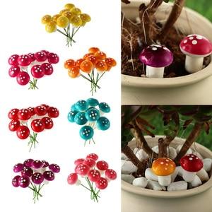 10Pcs Mini Mushroom Artificial Foam Potted Plants Decor Miniature Figurine DIY Craft Garden Ornament Resin Craft Moss Decor 2cm