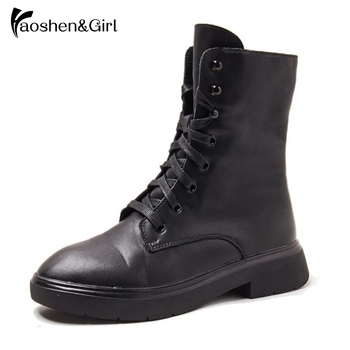 Haoshen&Girl Genuine Leather Women Motorcycle Ankle Boots Square Low Heel Warm Martin Boots Black Women Shoes  Size 35-39