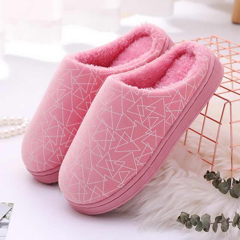 Dihope Unisex Warm Casual Indoor Slippers Pluizige Bont Schoenen Winter Streep Patroon Slip Op Slippers Huis Zachte Herfst Slippers