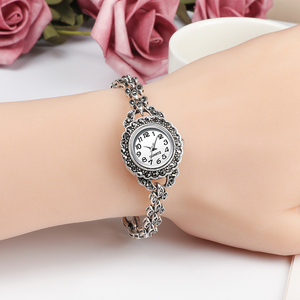 Image 5 - REVELRY Luxury Antique Silver Wrist Watch Turkish Rhinestone Bracelet Watches Women Vintage Geneva Designer Quartz Watch Womens
