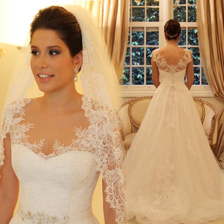 2016 New Design Vestidos De Noivas Cap Sleeves Appliques A Line Lace Wedding Dresses Free Shipping Bride Dress BO1903