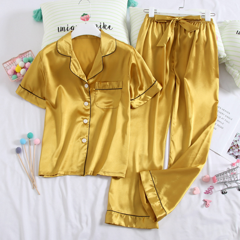 Summer Short Sleeve Trousers Home Wear Women's Victoria's Secret Fold-down Collar Cardigan Thin Silk WOMEN'S Pajama Suit Faux Si
