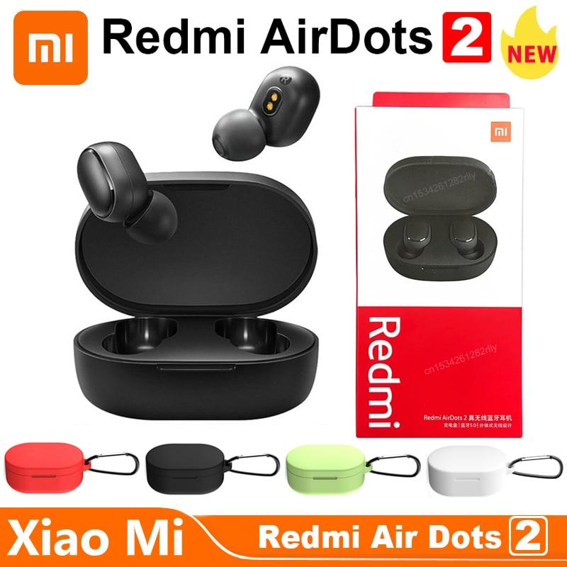 Оригинальные Xiaomi Redmi AirDots 2, наушники-вкладыши Bluetooth 5,0, беспроводные наушники с микрофоном, гарнитура с наушниками-вкладышами, управление ии, ...