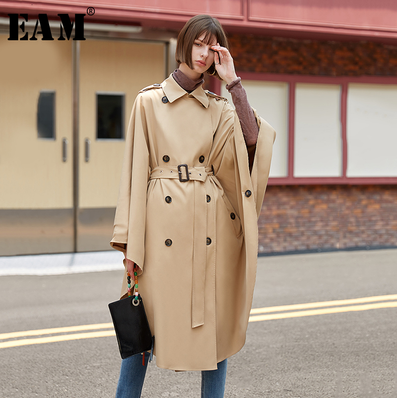 [EAM] Women Big Size Double Breasted Cloak Trench New Lapel Long Sleeve Loose Fit Windbreaker Fashion Spring Autumn 2020 1D110