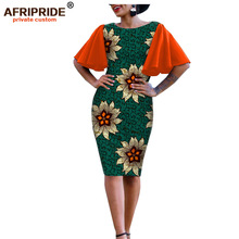 цены 2019 african clothes bodycon dress for women AFRIPRIDE bazin richi short butterfly sleeves knee length wax women dress A1925007