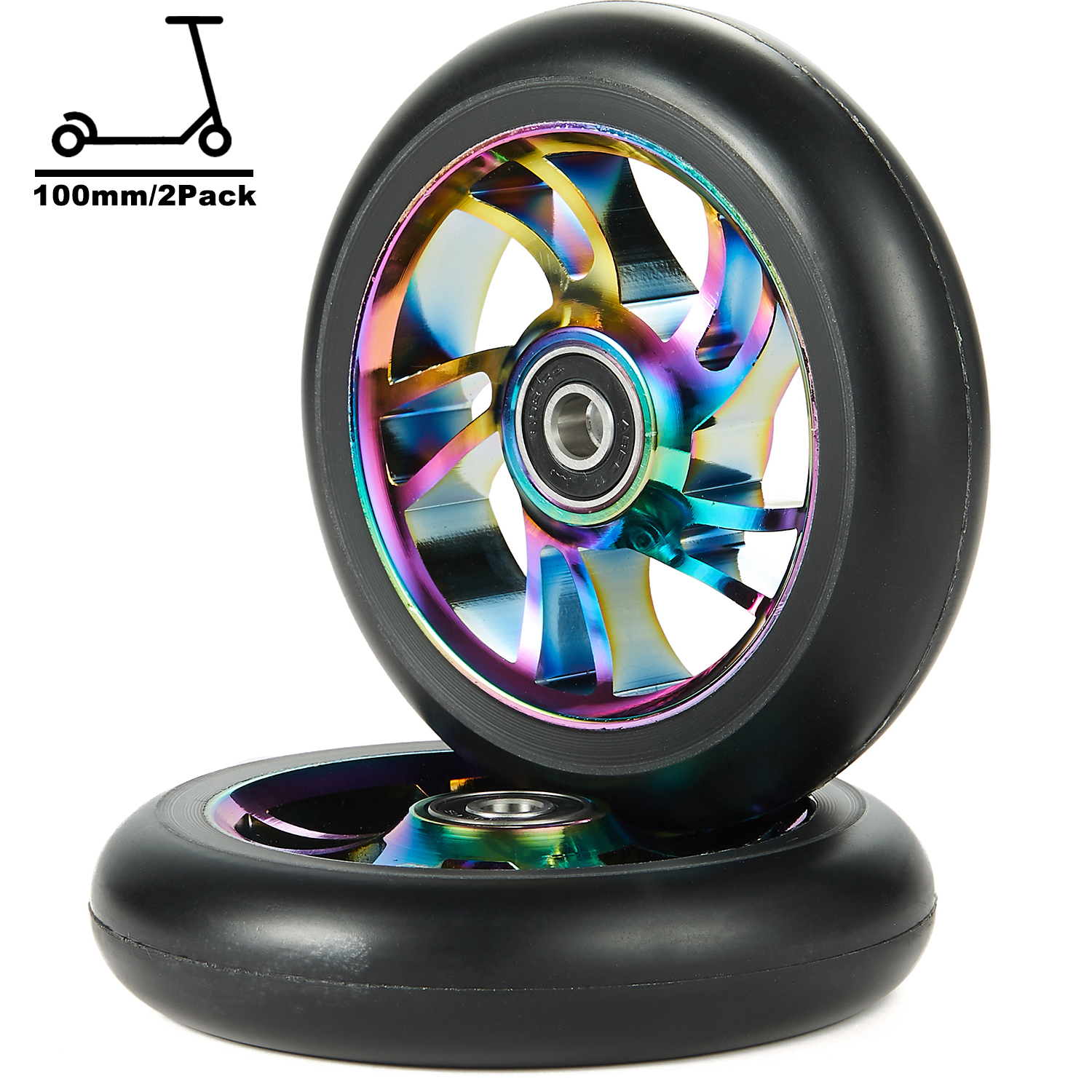 Compleet 2 Pcs 100 Mm Pro Stunt Scooter Vervanging Wielen Met ABEC-9 Lager-Neo Chrome