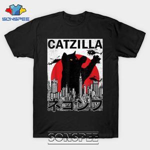 Мужская футболка SONSPEE Catzilla в японском винтажном стиле с изображением котенка, Повседневная футболка в стиле хип-хоп с 3D принтом, женские и му...