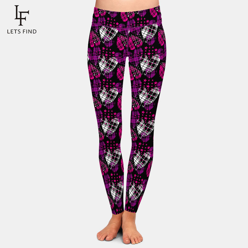 LETSFIND Fashion High Wiast Plus Size Women Leggings 3D Hearts With Stars Printing Fitness Elastic Slim Leggings