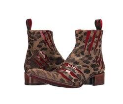 Botas de couro marrom masculino vermelho lobo garra impressão casual chelsea botas zapatos de hombre botas hombre blancas d315