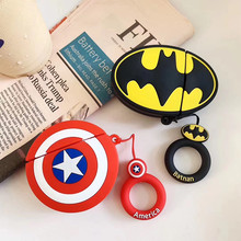 3D Leuke Cool Marvel Amerikaanse Captain Batman Hero Silicone Lanyard Case voor Airpods 2 Bluetooth Oortelefoon Accessoires Cover Bag(China)