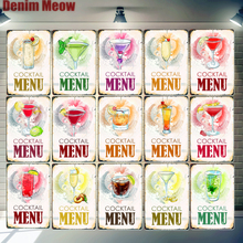 Cocktail Menu Plaque Martini Bloody Mary Margarita Vintage Poster Metal Tin Signs Cafe Bar Pub Home Decor Wall Art Stickers N310