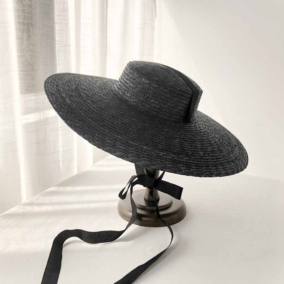 Large Brim Wheat Straw Hat Summer Hats For Women 10cm/15cm/18cm Brim With Black&White Ribbon Beach Cap Boater Flat Top Sun Hat image