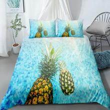 3D Pineapple Orange Print Fruit Bedding Set Fresh Food Bed Linen Set Pillowcase 2/3 Piece Microfiber Duvet Cover for Teens Boys остен джейн нортенгерское аббатство