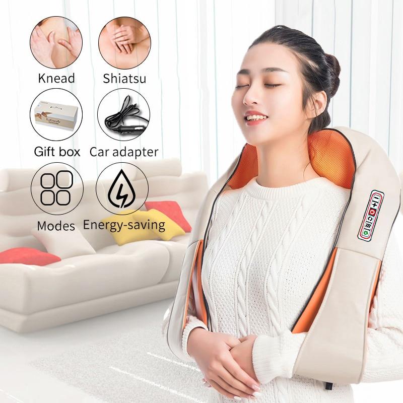 U forme électrique Shiatsu dos cou épaule corps masseur infrarouge chauffé 4D pétrissage voiture/maison Massagem