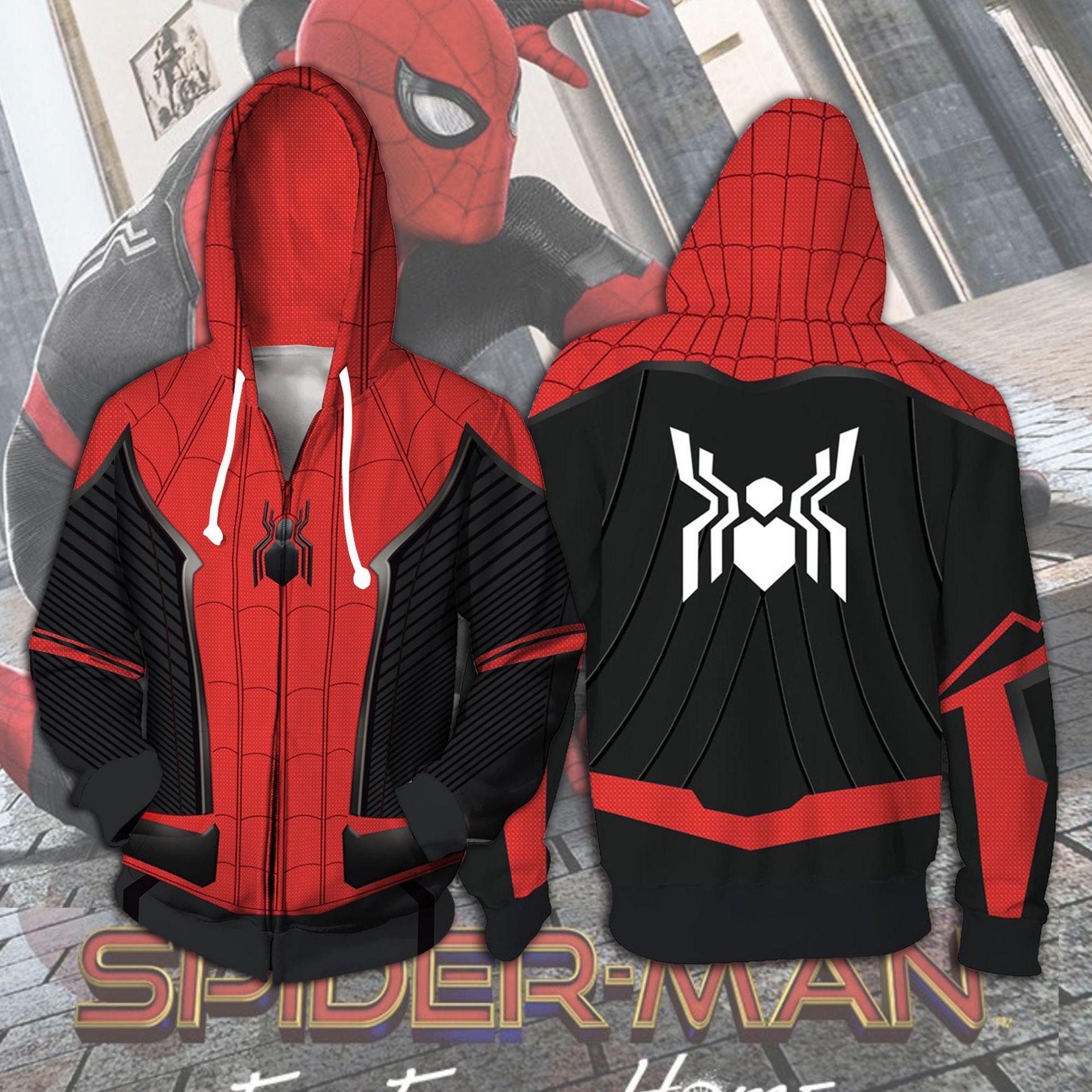 3D Printed Spiderman Costume Hoodies Men Superhero New Movie Spider Venom Hooded Cosplay Sweatshirts Zipper Jacket Casual Tops