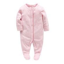 Живописное детство от 0 до 12 месяцев розовый горошек с круглым вырезом для новорожденных девочек удобные пижамы для новорожденных хлопок желтая одежда 102