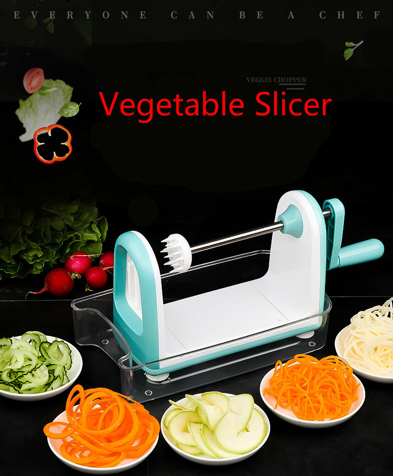 High Quality Manual Spiralizer With Stainless Steel 4-blade Vegetable Slicer For Healthy Life Best Veggie Pasta&spaghetti Maker