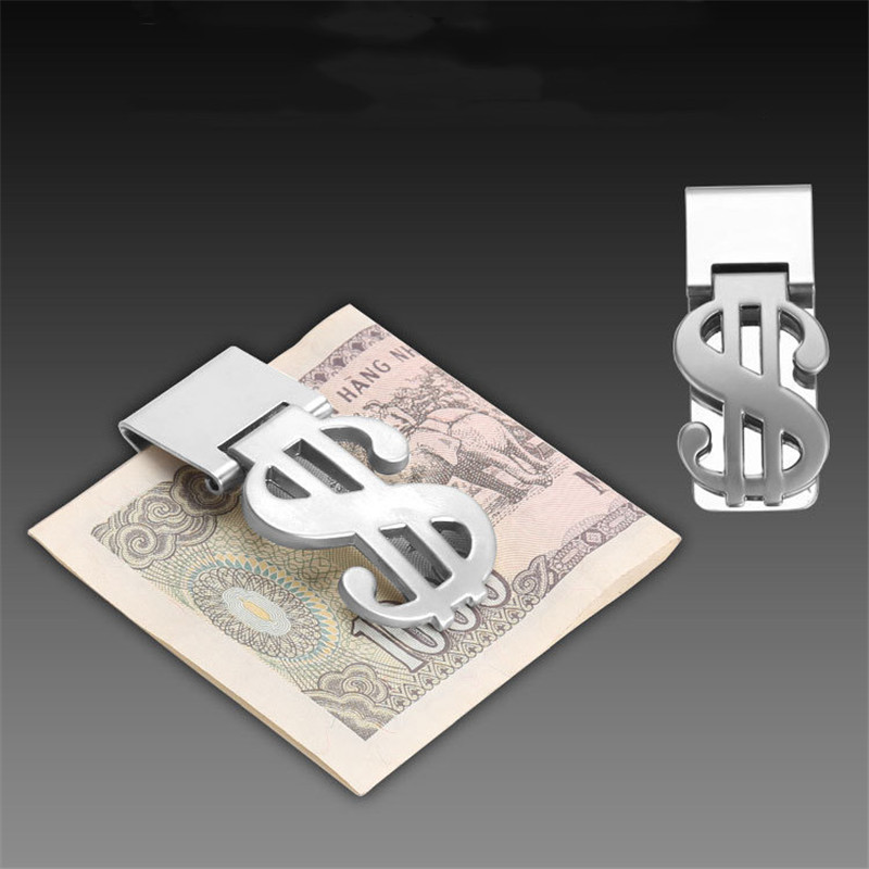 2019 New Men Metal Money Clip Stainless Steel Dollar Pattern Wallet Clip Name Card Clips Cash ID Credit Card Clips Wallet Purse